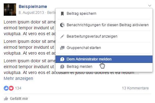 Facebook Gruppen Beitrag Administrator melden