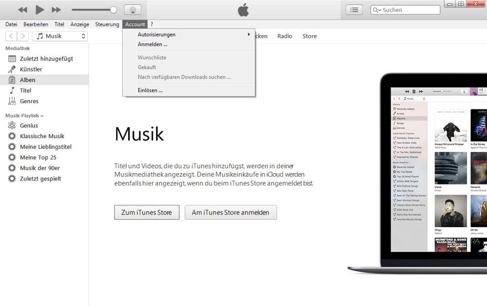 iTunes anmelden