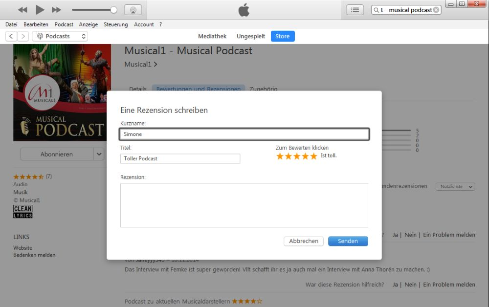 iTunes Podcasts Liste