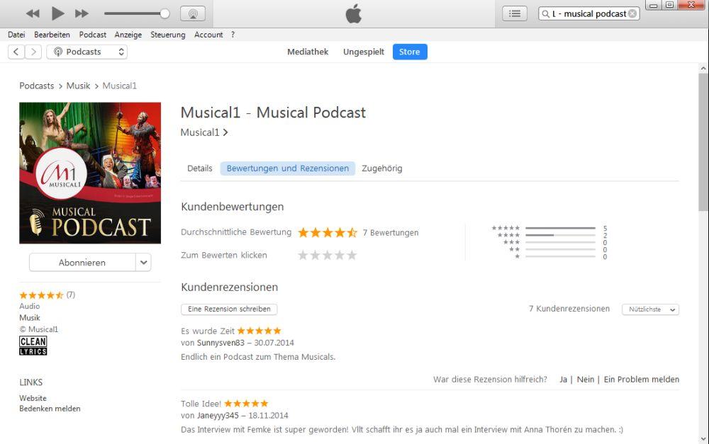 iTunes Podcast bewertungsseite