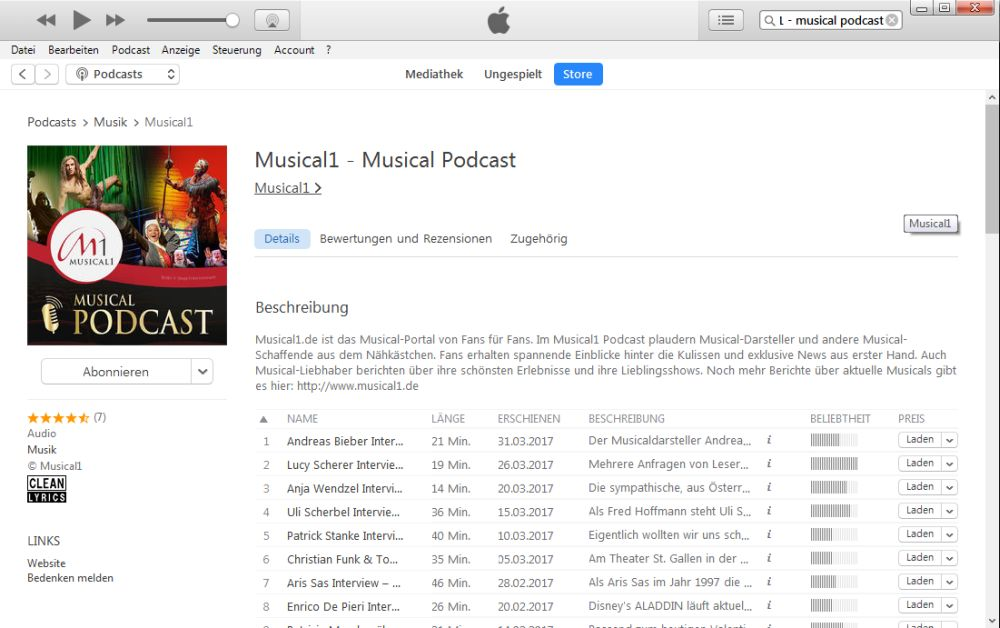 iTunes Podcast Detailseite