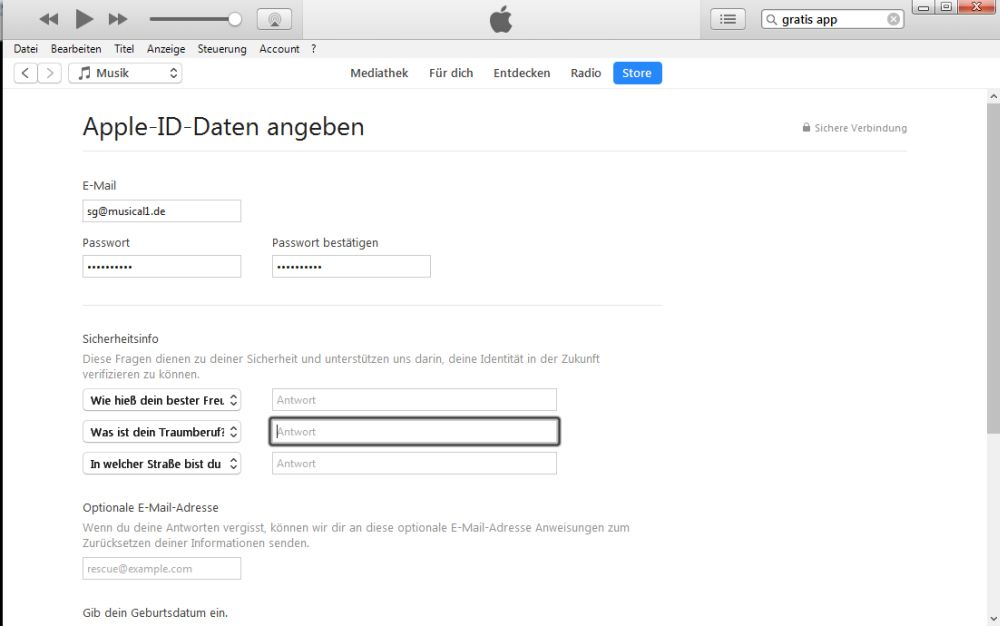 iTunes Dateneingabe