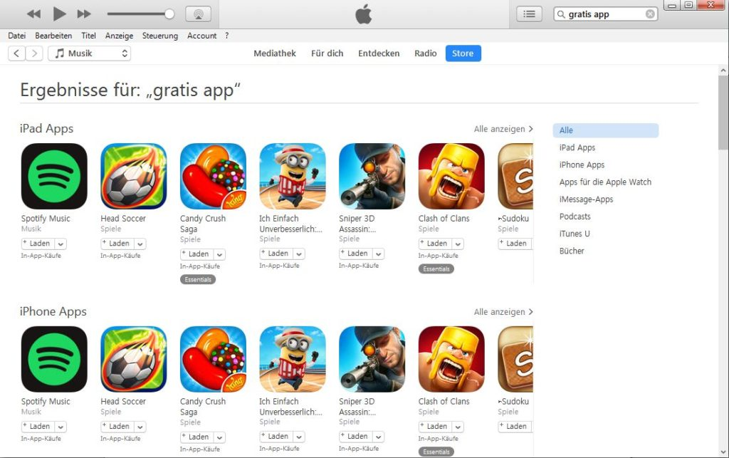 iTunes Gratis Apps