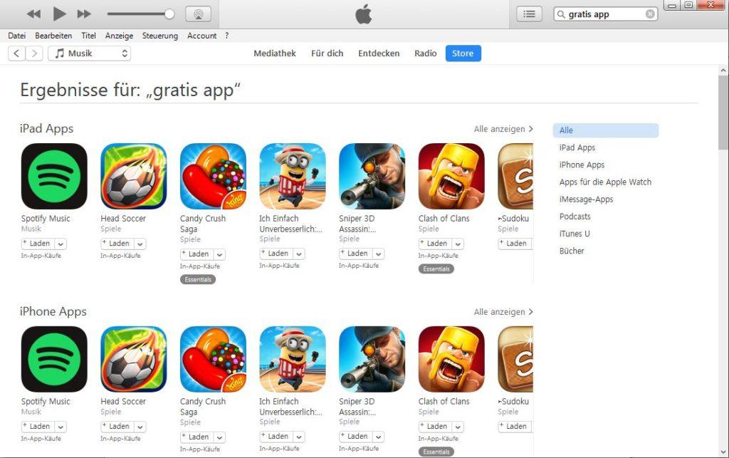 iTunes Gratis Apps