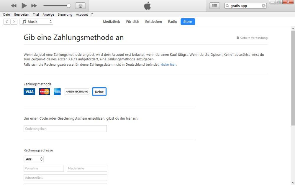 iTunes ohne Zahlungsinfo