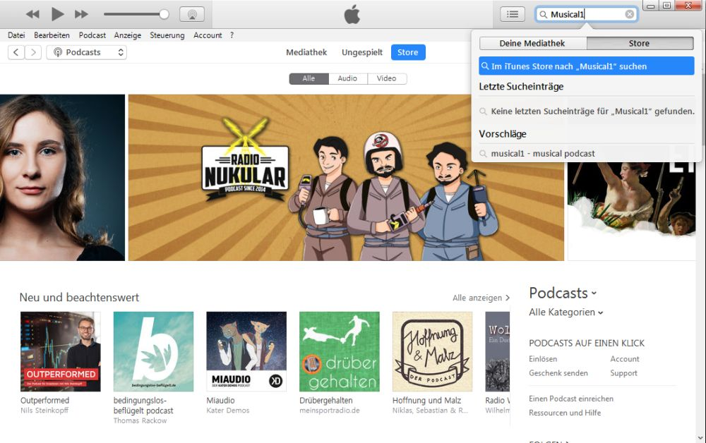 iTunes Musical1 Podcast suchen