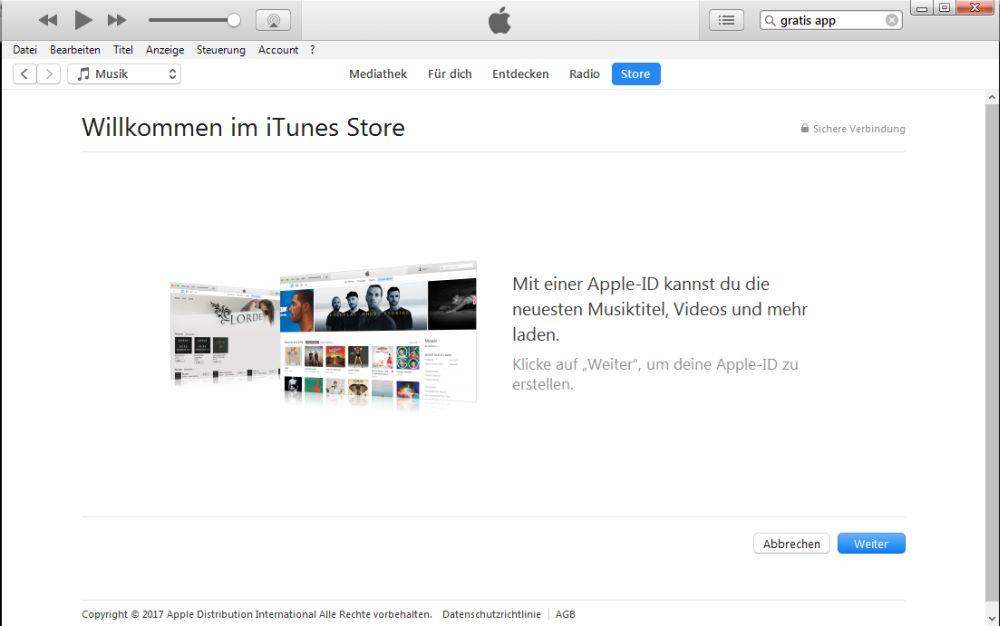 iTunes weiter