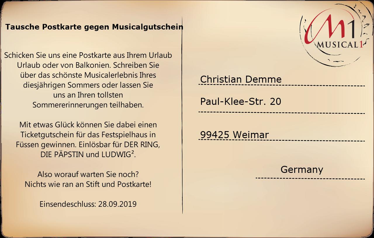 Tausche Postkarte gegen Musicalgutschein - Musical1 Sommeraktion 2019