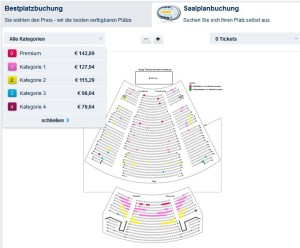 Musical Tickets Saalplanbuchung