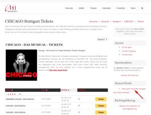 Musical-Ticketseiten Verlinkung der Premium Hotels