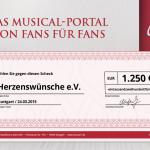 Musical1 Spendenaktion: 1.250 Euro für Herzenswünsche e.V.