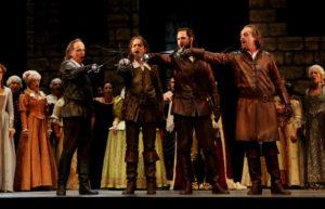 Die vier Musketiere Athos, d´Artagnan, Porthos und Aramis